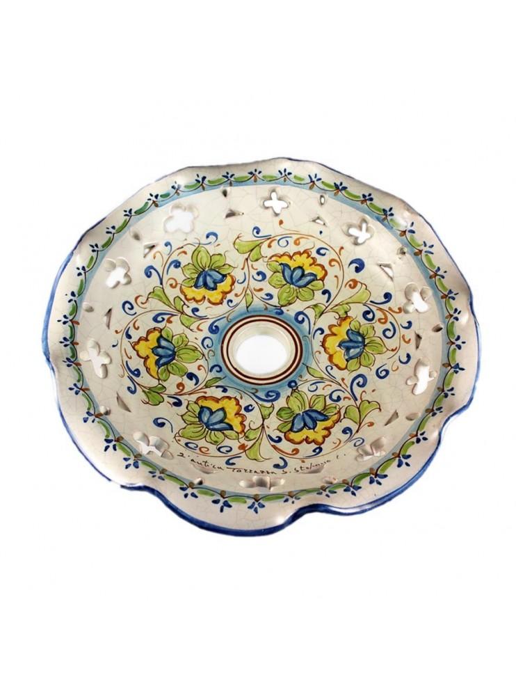 Piatto D.30 decoro Fiori ceramica siciliana ricambio lampadario