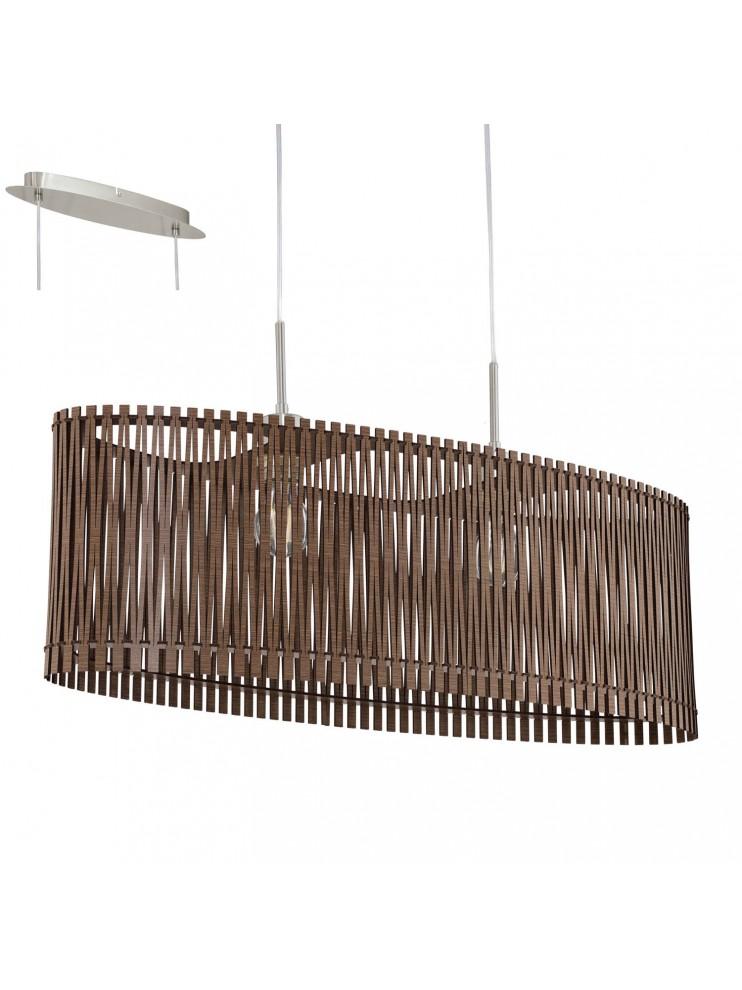 Lampadario in legno marrone moderno 2 luci glo 96201 sendero for Lampadario legno moderno