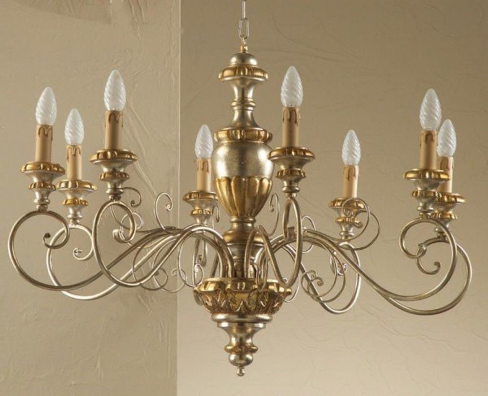 Lampadario Antico In Legno : Antico lampadario vetro legno ottone arredamento e casalinghi in