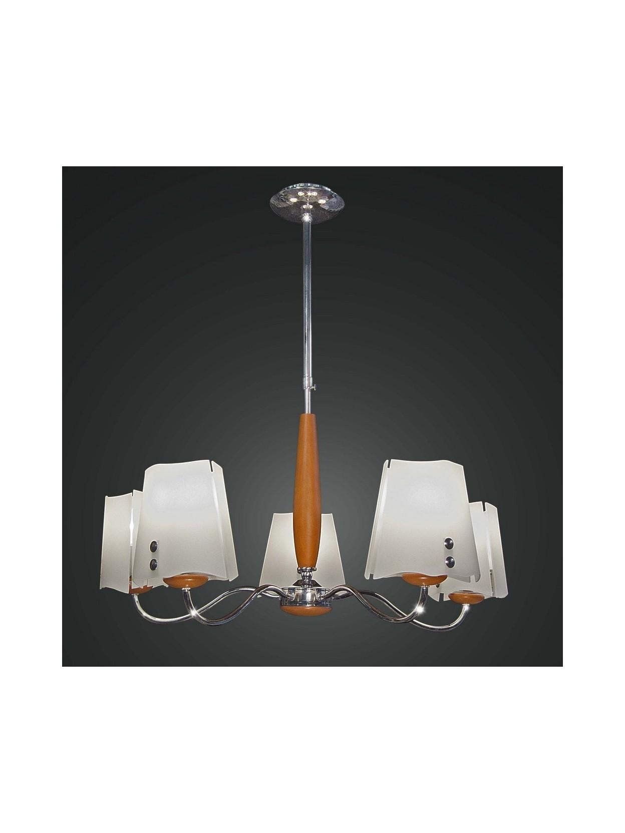 Lampadario in legno ciliegio moderno 5 luci bga 1089 for Lampadario legno moderno