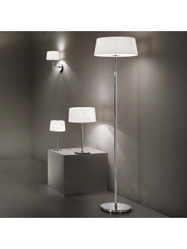 Modern chrome floor lamp with 2 lights Hilton fabric