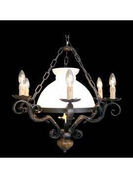 Rustic wrought iron wood chandelier 7 lights BGA 1383
