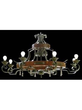 Rustic wrought iron wood chandelier 8 lights BGA 1167