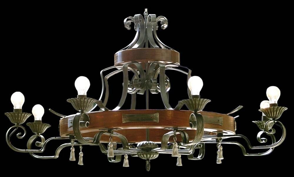 Plafoniere In Legno Rustico : Lampadario legno ferro battuto rustico 8 luci bga 1167