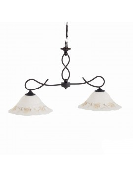 Classic barbell in wrought iron 2 lights Leaf