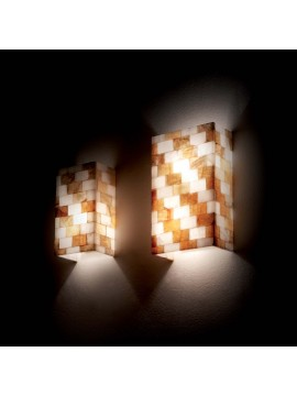 Contemporary alabaster stone effect 2 lights Chess wall light