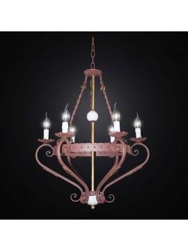 Rustic wrought iron chandelier 6 lights BGA 2544/6