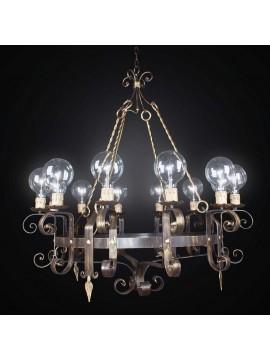 Rustic wrought iron chandelier 12 lights BGA 2529/12