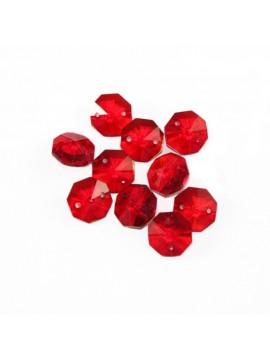 10pz Ottagono Rosso Cristallo pendaglio ricambio lampadario applique strass