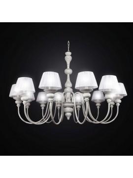 Lampadario legno e metallo vintage 12 luci BGA 2592/12