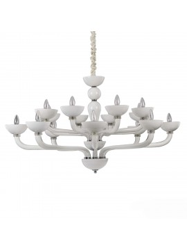 Modern chandelier 16 lights in white Casanova blown glass