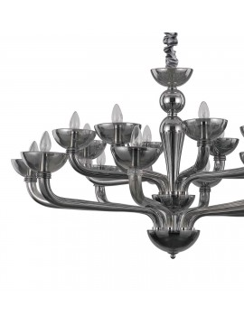 Modern chandelier 16 lights in blown Casanova smoked glass