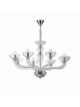 Modern chandelier 8 lights in transparent Casanova blown glass