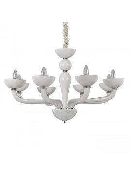 Modern chandelier 8 lights in white Casanova blown glass