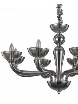 Modern chandelier 8 lights in blown Casanova smoked glass