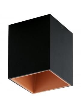 Faretto moderno a led nero e rame GLO 94496 Polasso