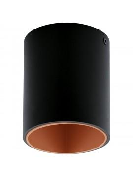 Faretto moderno a led nero e rame GLO 94501 Polasso