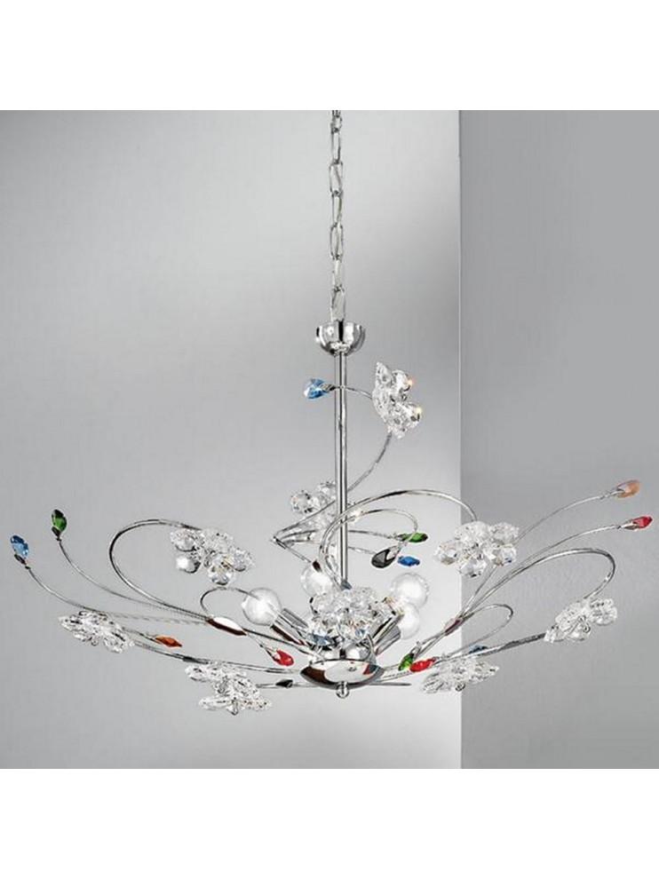 Lampadario moderno cristallo colorato 5 luci Marg-sp