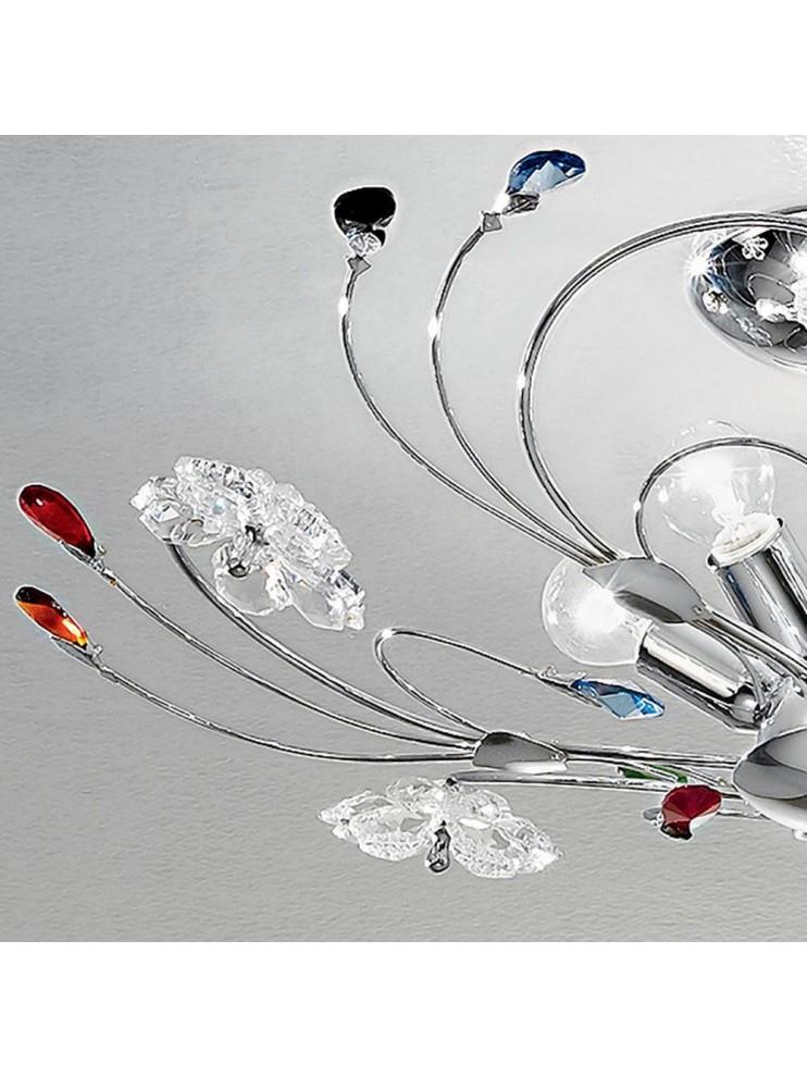 Plafoniera moderna cristallo colorato 5 luci Marg-plm