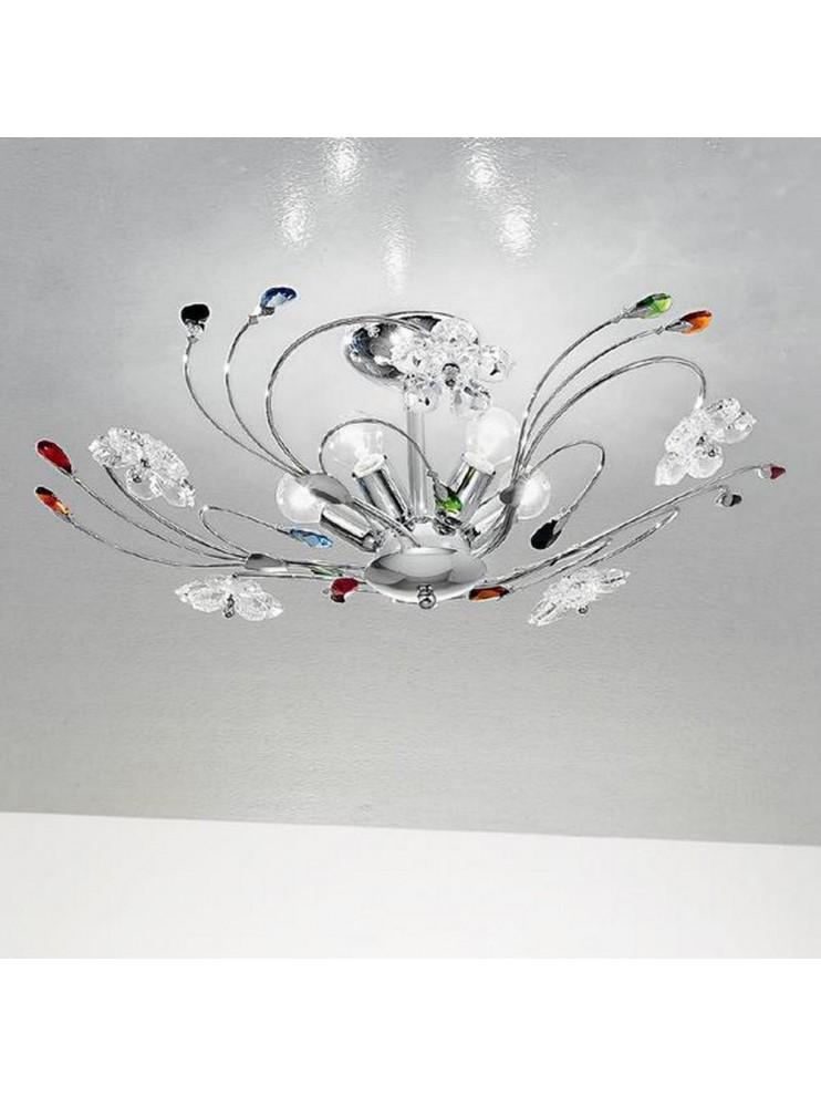 Modern crystal colored ceiling light 5 lights Marg-plp