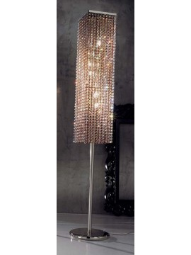 Floor lamp in amber crystal 8 square lights Voltolina Rainbow