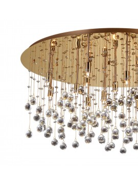Contemporary ceiling lamp with crystal spheres 15 Moonlight lights