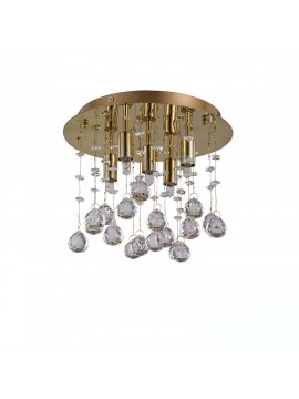 Contemporary ceiling lamp with crystal spheres 5 Moonlight lights