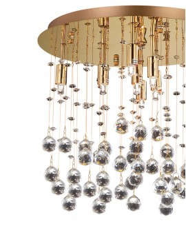 Contemporary ceiling lamp with crystal spheres 8 Moonlight lights