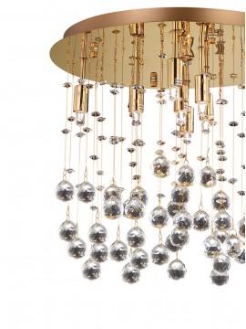 Plafoniera contemporanea con sfere in cristallo 8 luci Moonlight