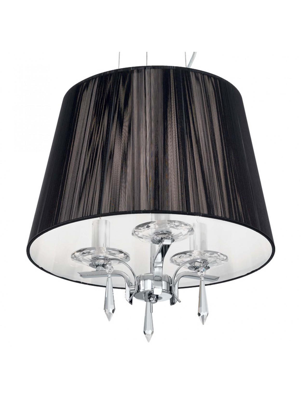 Lampadario moderno 3 luci cristallo con paralume nero Accademy