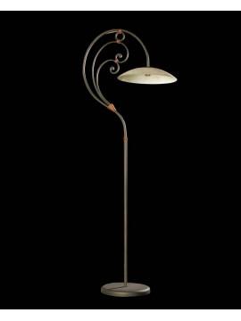 Wrought iron floor lamp with 1 light BGA 1143 glass