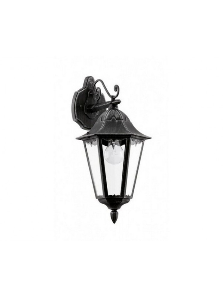 Classic Black Silver Outdoor Wall Lamp Glo 93456 Navedo
