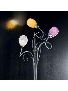 Piantana moderna cromata colorata 3 luci Mia