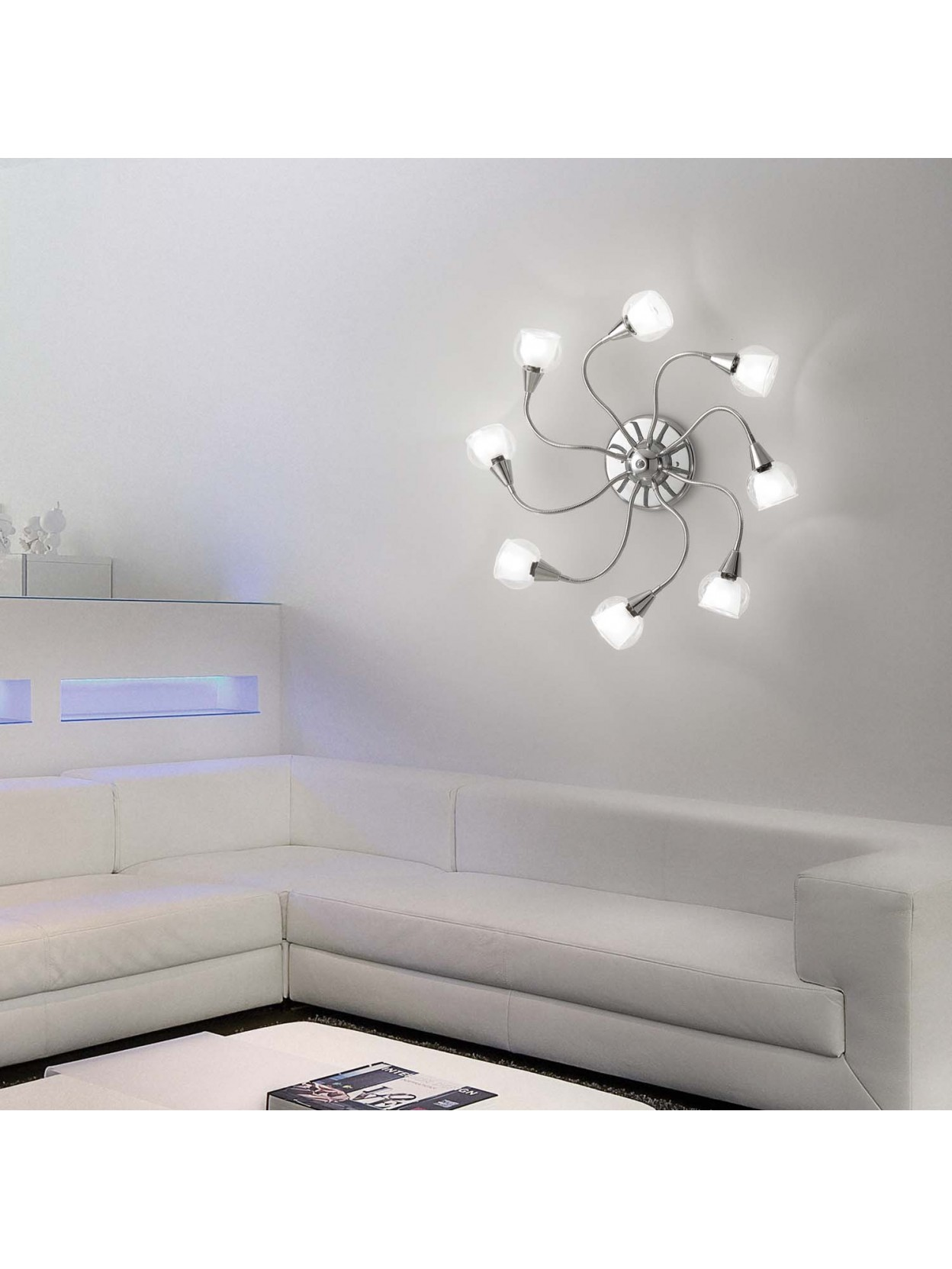 Plafoniera moderna con vetri 8 luci flessibile tender for Plafoniera moderna