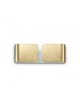 Applique moderno in metallo foglia oro 2 luci Clip mini