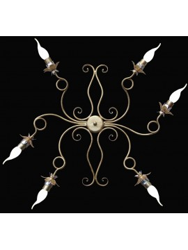 Wrought iron ceiling light 6 lights BGA 1465