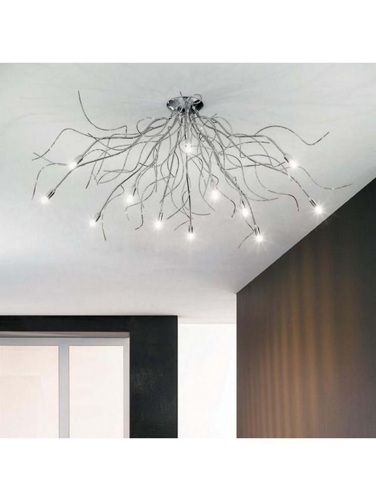 Modern ceiling lamp chromed branches 12 lights Onda-pl12