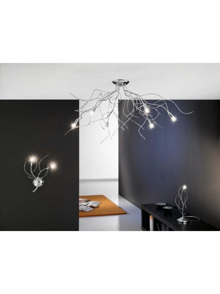 Plafoniera moderna rami cromati 12 luci Onda-pl12