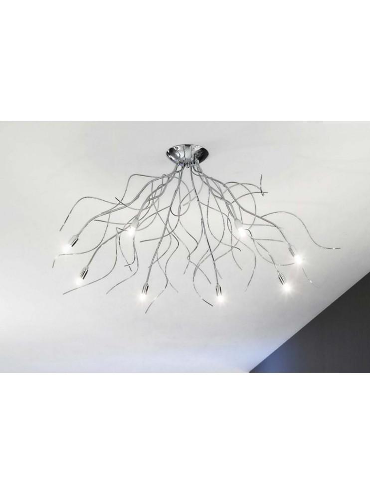 Modern ceiling lamp chromed branches 8 lights Onda-pl8