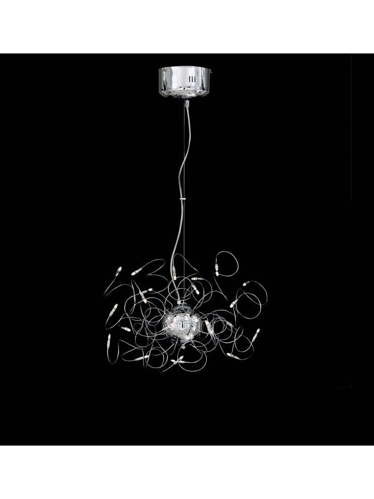 Lampadario moderno cromato 22 luci snodabile Faville