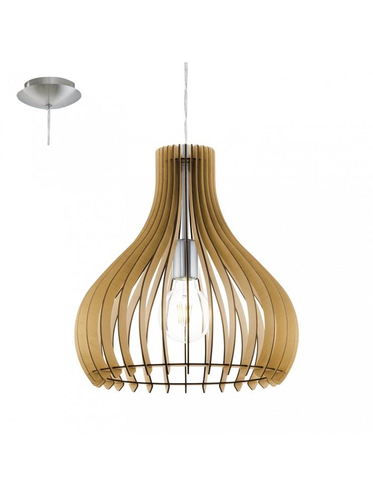 Lampadario in legno moderno 1 luce glo 96258 tindori for Lampadario legno moderno