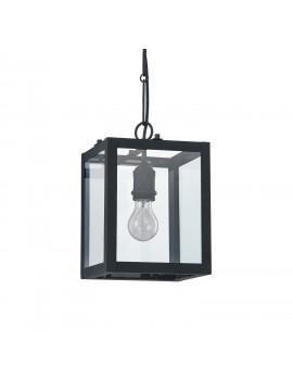 Vintage black matte chandelier with 1 light Igor glass