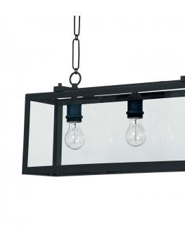 Black matt vintage chandelier with 3 lights Igor glass