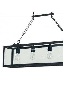 Lampadario vintage nero opaco con vetro 4 luci Igor
