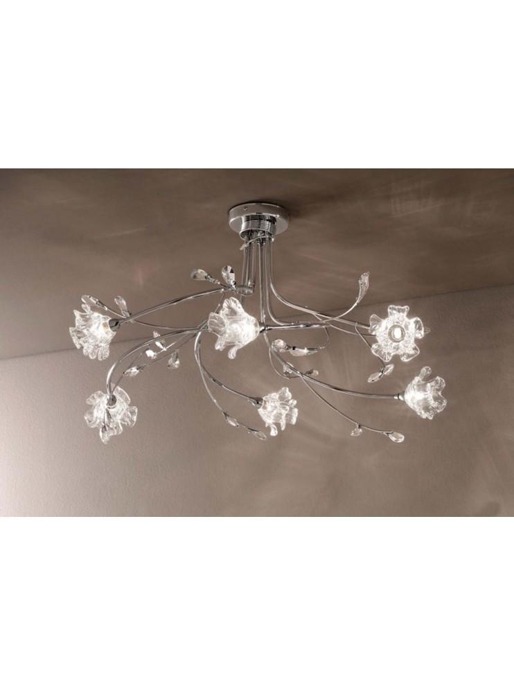 Lampadario moderno cristallo 6 luci Dafne-s6 cromato