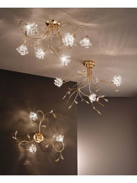 Contemporary crystal ceiling light 3 lights Dafne-pl3 gold