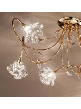 Plafoniera contemporaneo cristallo 6 luci Dafne-pl6 oro