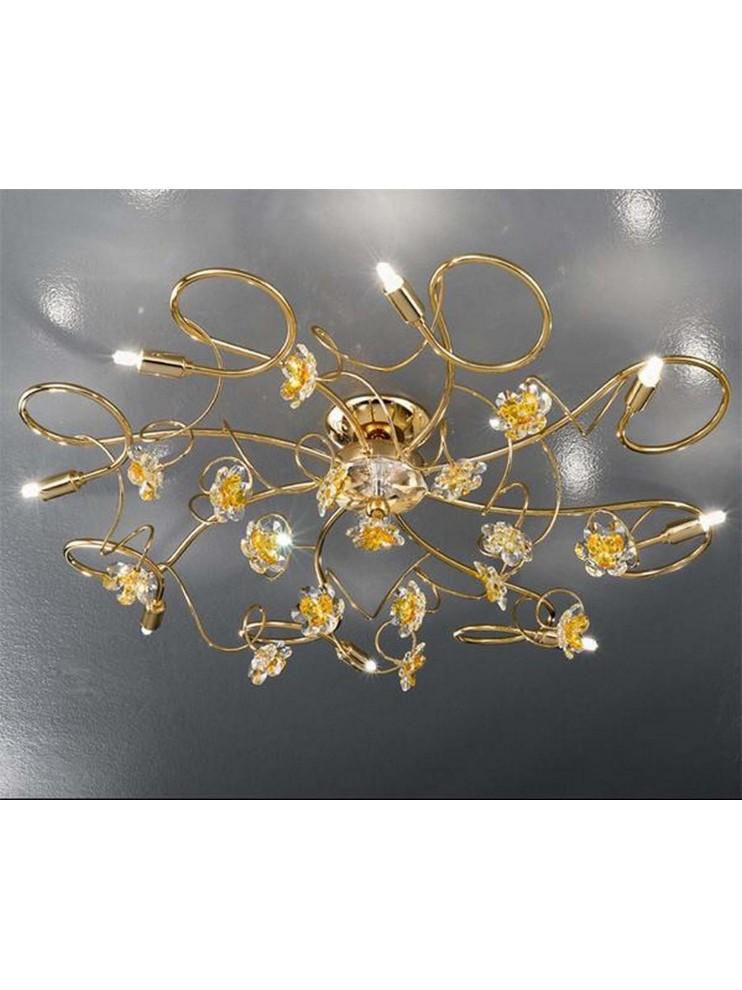 Plafoniera classico con fiori in cristallo 8 luci 2559-pl8 oro