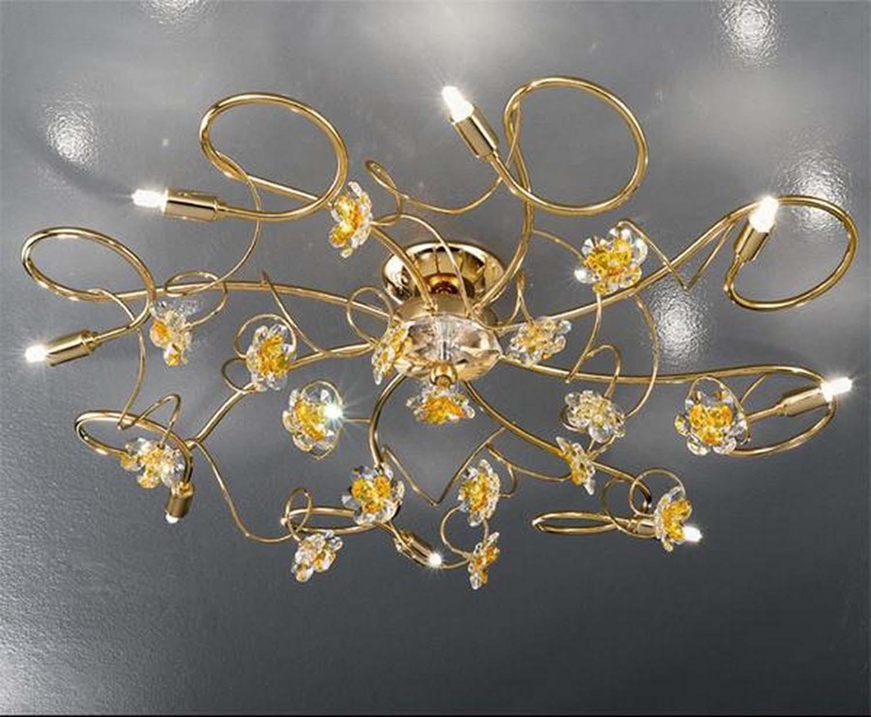 Plafoniera classico con fiori in cristallo 8 luci 2559 pl8 oro