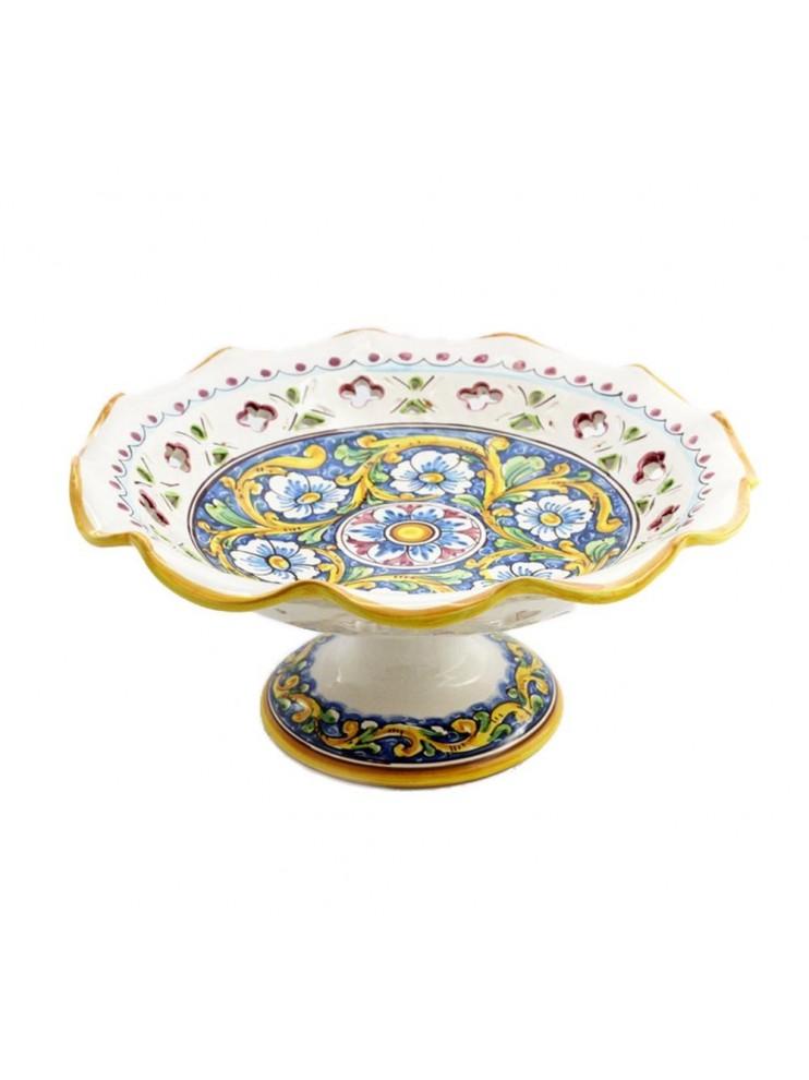 Centrotavola alzata grande in ceramica siciliana art.3 dec.Barocco